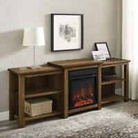 Walker Edison Furniture Company Tiered Wood Fireplace Stand with Open 80 Flat...
