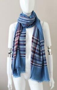 New! LORO PIANA Princeton blue cashmere silk scarf stole gorgeous 205x75cm
