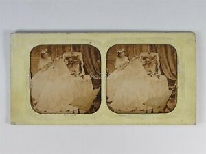The Bride & Bridesmaid Looking In A Mirror 1858 Tissue Stereoview By Elliott