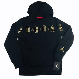 Nike Jordan Wordmark Bonded Hoodie Boy's Black / Gold 955772-023 SZ M NEW