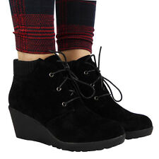 Women's Faux Suede Lace Up Wedge Mid Heel (1.5-3 in.) Boots