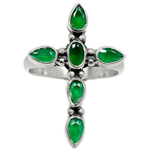 Cross - Emerald - India 925 Sterling Silver Ring Jewelry s.8 BR97514