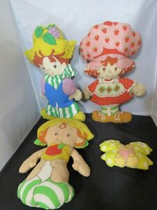 Lot of 4 Vintage Strawberry Shortcake Dolls Pillow handmade 1980's