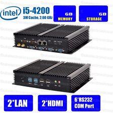 Fanless VPN Firewall Mini PC  Barebone Intel Core i5 2* LAN 6*RS232 8*USB 2*HDMI