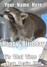 Raccoon bd88 Bath Time Fun Cute Birthday Card A5 Personalised Greeting