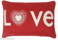 FILLED CHRISTMAS LOVE RED WHITE EMBROIDERED WOOL BLEND CUSHION 35 X 50