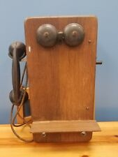 Updated Antique Crank Oak Wall Telephone Phone Dovetailed with Vintage Receiver