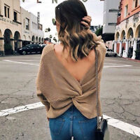 Women Sexy Deep V-Neck Twisted Back Sweater Pullover Long Sleeve Knit Jumper Top