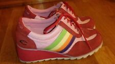 Vintage 90's Rainbow Tennis Shoes, Super Light Weight, size 7.5, High Top Style