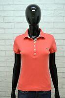 Polo Donna LACOSTE Taglia 38 S Maglia Slim Manica Corta Elastica T-shirt Jersey