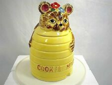 VINTAGE COOKIE JAR BEAR HUGGING HONEY BEE HIVE TEDDY BUBBLE NECTAR KITCHEN HOME