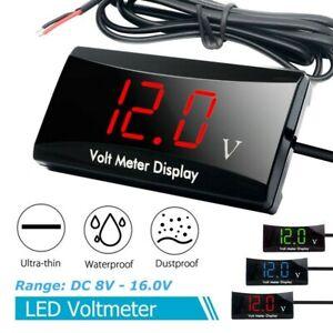 Car Motorcycle 12V Digital LED Display Voltmeter Voltage Gauge Panel Meter New-