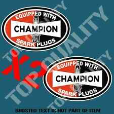 VINTAGE CHAMPION SPARK PLUG Decal Sticker X2 Mancave Garage Retro Car Stickers