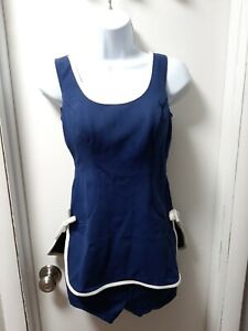Vintage Montgomery Ward Womens Dressy 14 Front Zip Top Size Small Navy White