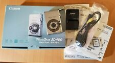 Canon Powershot SD400 5mp Digital ELPH camera w/ box, manual, SD, charger TESTED