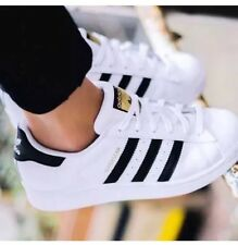 ADIDAS SUPERSTARS 7.5 White And Gold With Black Stripes