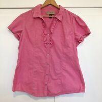 BIT & BRIDLE Womens Button Front Shirt Short Sleeve Pink Ruffle Pearl Snap Sz XL