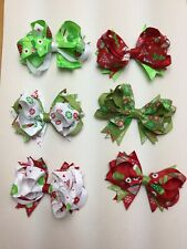 "6 Christmas 5"" Boutique Hair Bows Girls Baby Toddler Us Seller clip"