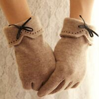Fashion Elegant Female Wool Touch Screen Gloves Winter Women Warm Cashmere