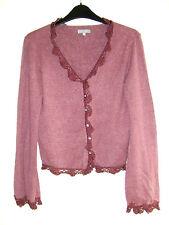 Lovely Purple Long Sleeve Crochet Trim Cardigan from Per Una - Size 10