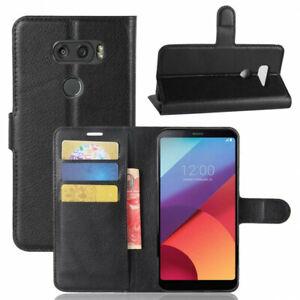 Housse noire pour LG V30 Portefeuille grainée