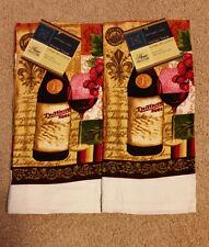 New Wine & Glass Design Kitchen Towels 15x25 Dish Cloth Bar Mop Cotton 2 NEW!