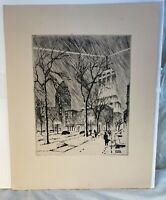Vintage James Swann Original Etching Signed Downtown Chicago Cityscape See pics!