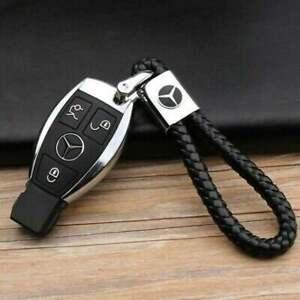 Mercedes Benz AMG 2021 Black Braided Leather Keyring Key Chain Fob Car Logo UK