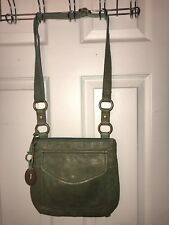 FOSSIL Long Live Vintage Green Weathered Leather Organizer Crossbody Bag