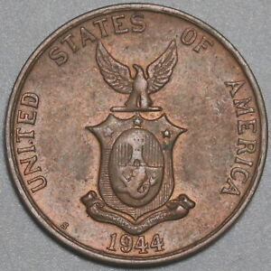 1944-S Philippines 1 Centavo AU WWII USA Administration Coin (21032203R)