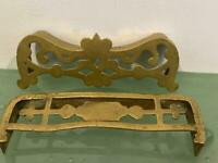 "Antique Victorian Brass Fireplace Fender 2 Salesman Sample Fancy Lot D Large 7"""