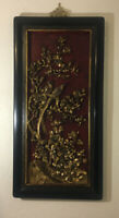 Rare Antique Chinese Gilt Hand Carved Floral Birds Of Paradise Lacquer Framed