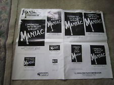MANIAC / MOVIE PRESS SHEET C POSTER / 1980s 29 x 22.5 Inches /
