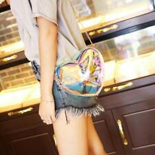 Girl Laser Clear Heart Shape Tote Shoulder Bag Mini Chain Bag Crossbody Handbag