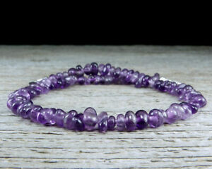 Amethyst Anklet with Natural Amethyst Gemstone Pebbles - Sterling Silver Clasp