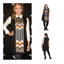 Missoni Women's Zig Zag Stripes Patchwork Sleeveless Crewneck Sweater Dress M