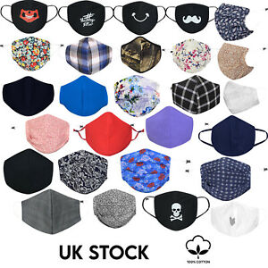 Cool Designs Adult Cotton Face Masks Washable Reusable with PM2.5 Filter Pocket
