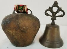 """1 Antique 5"""" Swiss Cow Bell And 1 Vintage 6"""" Hand Bell - Heavy and Loud"""