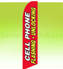 Feather Swooper Banner Sign Tall 11.5' Flag - Cell Phone Flashing Unlocking rb