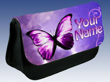 PERSONALISED PURPLE BUTTERFLY PENCIL CASE / DS / MAKE UP BAG *GIFT & NAMED TOO*