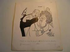 DESSIN ORIGINAL CARICATURISTE TEYVAR 1960 LYON Signé