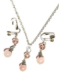 """Silver Rose Quartz Crystal Necklace Clip-On Earring Set Gemstone Bead 18"""" Chain"""