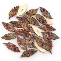 New Clothing Decor DIY Crafts Handmade Leaf Wooden Buttons Scrapbooking Sewing