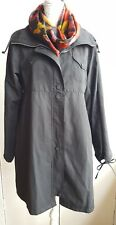 LJK EVAN BLACK A LINE TRENCH COAT PARKA WOMENS UK 14 ZIP and BUTTONS VGC