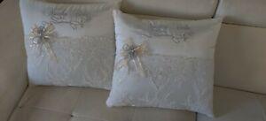 NEW! Wedding Kneeling Pillow Set White Silver - Cojines para Boda en Blanco