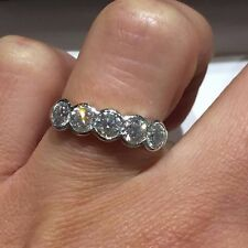 18CT WHITE GOLD 5 DIAMONDS RUBOVER RING  1.40CT DIAMONDS LADY RING GOY315