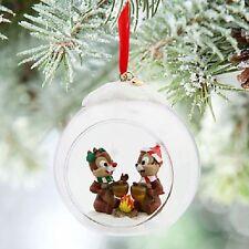 RARE Disney Store Chip n Dale Glass Globe Sketchbook tree Ornament Nutty Noel