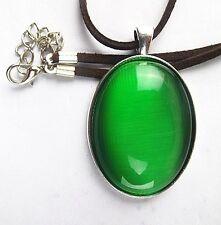 green oval Cat Eye Stone set Tibetan silver pendant 18inch 50x33x8mm  BD235