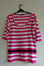 Ladies Pink & White Striped Jumper T Shirt Top Size 14 BHS