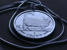 "1998 Isle of Man Birman Cat Coin Pendant on a 24"" White Gold Filled Necklace"